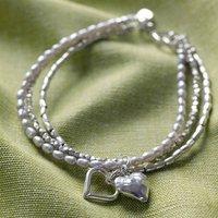 Silver Double Heart Bracelet, Silver