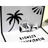 'Bon Voyage' Personalised Pop Up Card, Black/White/Red