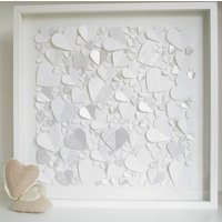 Personalised Captured Hearts Framed Picture, White/Black