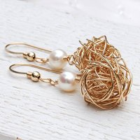 14ct Gold Filled Bird's Nest & Pearl Earrings, Gold