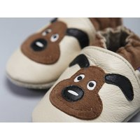 'Puppy Love' Soft Leather Baby Shoes, White/Brown
