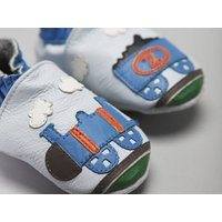 'All Aboard' Soft Leather Baby Shoes, Blue