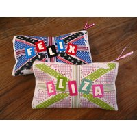 Personalised pencil case, Pink/Green/Blue
