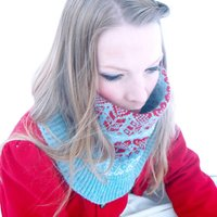 Fairisle Knitted Neck Cowl, Wheat/Blue/Red