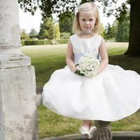Amy Twinkle Silk Flower Girl Dress With Crystal Trim