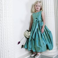 Amy Jewel Coloured Silk Flower Girl Or Party Dress, Pale Pink/Pink/Ruby Red