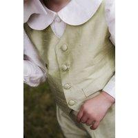 Regency Silk Boys Waistcoat, Ivory/Green