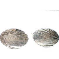 Feather Imprint Silver Cufflinks, Silver