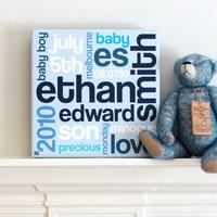 Personalised New Baby Details Canvas