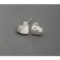 Ripple Pebble Heart Studs Silver Or 18ct Gold, Silver