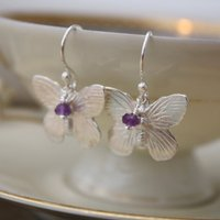 Sterling Silver Butterfly Earrings, Silver