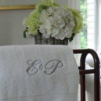 Monogrammed Towel, Black/Grey/Silver