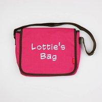 Personalised Childs Messenger Bag, Light Pink/Pink/Royal Blue