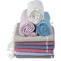Large Beach Pure Cotton Hamam Towel, Beige/Pink Raspberry/Pink