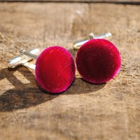 Silk Velvet Covered Cuff Links, Purple/Hot Pink/Pink