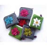 Felt Flower Purse, Grey/Turquoise/Red