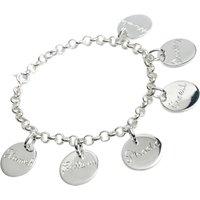 Engraved 9ct Sleek Charm Bracelet On Chain