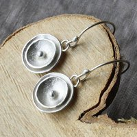 Handmade Silver Poppy Drop Earrings, Silver