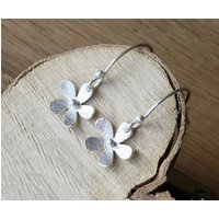 Handmade Silver Daisy Drop Earrings, Silver