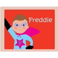 Personalised Superhero Placemat, Light Blue/Blue/Dark Blue