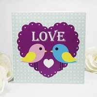 Cutie Love Birds Greeting Card, Blue/Purple Heart/Purple