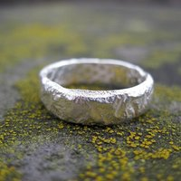 Sterling Silver Rough Rocky Textured Unisex Narrow Ring, Silver