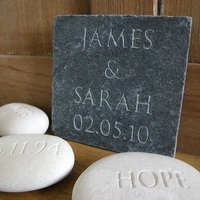 Personalised Wedding Gift Slate, White/Grey
