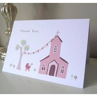 Personalised Christening Thank You Card, Pink/Blue/Green