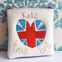Personalised British Heart Flag Purse, Red/Blue/Green