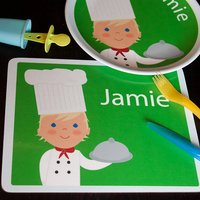 Personalised Chef Placemat, Light Blue/Blue/Dark Blue