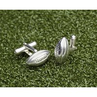Solid Silver Rugby Ball Cufflinks, Silver