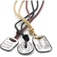Men's Personalised Tablet Necklace, Dark Brown/Brown/Black