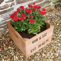 Personalised Anniversary Square Planter Crate, White/Ivory/Silver