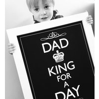 'Dad King For A Day' Print, Black/Red/Grey