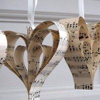 Handmade Sheet Music Heart Decoration, White/Red/Blue