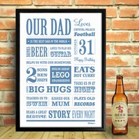 Personalised Dad Memory Word Art Print, Blue/Turquoise