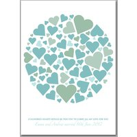 Personalised Wedding Hearts Signature Print, Red/Green/Blue