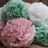 Pastel Coloured Paper Pom Pom, Pink/Mint Green/Mint