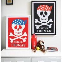 Personalised Skull And Crossbones Print, Red/Black/Grey