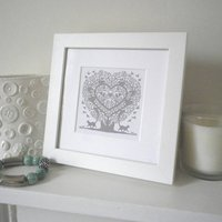 Miniature Cats In A Treeheart Print, Forest Green/Green/Rose