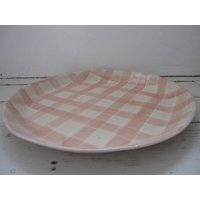 Gingham Paella Platter, Aubergine/Green/Pink