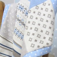 Blue Fairisle Knitted Baby Blanket, Blue/Pink