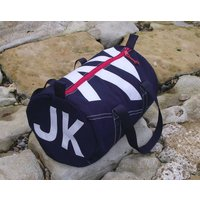 Personalised Seaview Navy Blue Kit Bags, White/Red