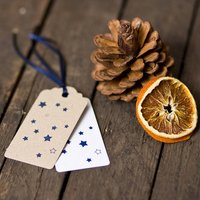 Star Gift Tags, Brown/White