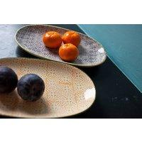 Oval Porcelain Plate, Rose/Grey