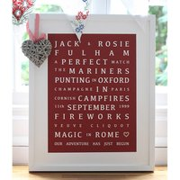 Personalised Valentines 'Memories' Print, Claret/Teal/Lilac