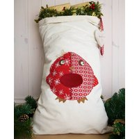 Personalised Santa Sack With Robin, White/Red