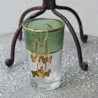 Gold Butterfly Drop Earrings, Gold