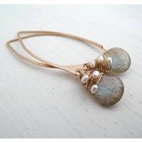 Labradorite Woven Pearl Earrings