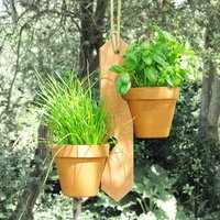 Two Pot Hanging Plant Holder, Green